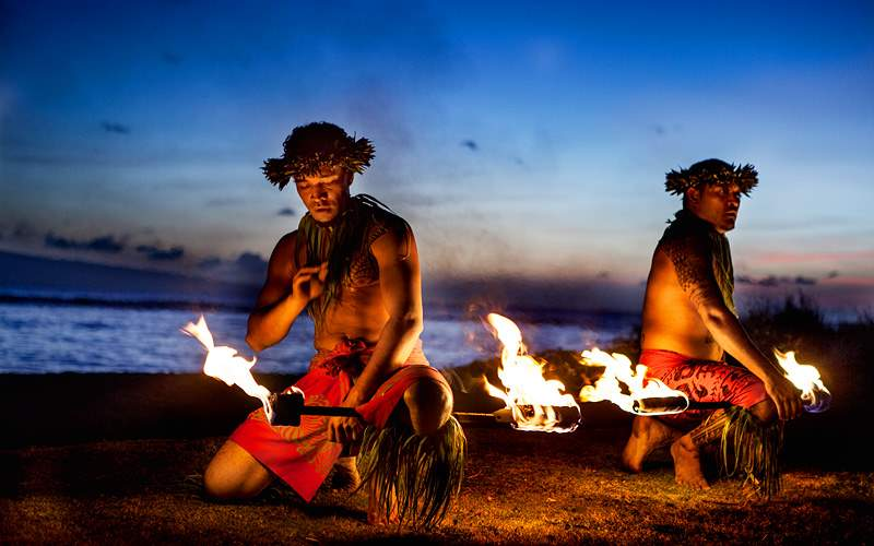 Hawaiian Men Fire Dancing in Maui Holland America