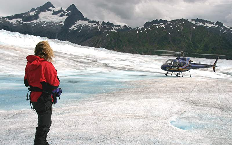 Helicopter on an Alaskan glacier