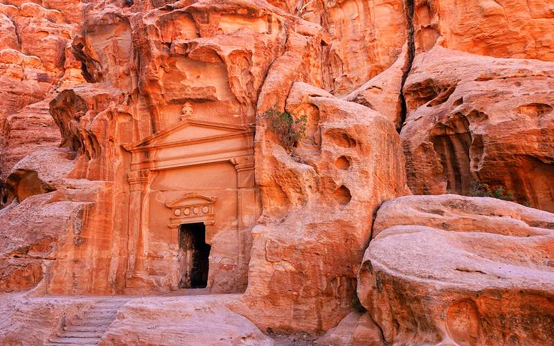 Rock Temple, Petra, Jordan Africa Holland America