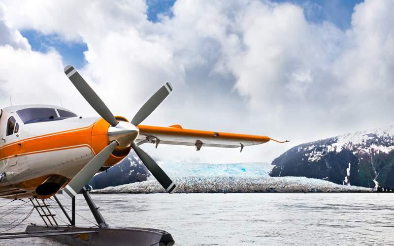 Seaplane landed near an Alaskan glacier