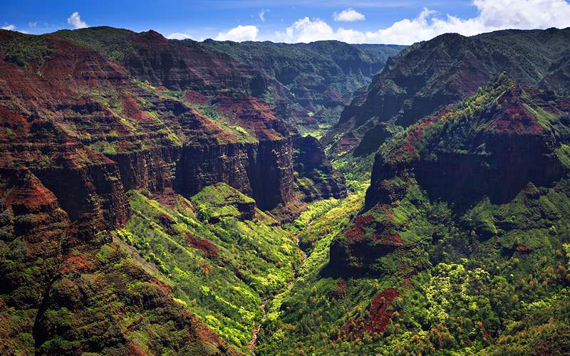 Waimea Canyon from the air. Kauai Holland America