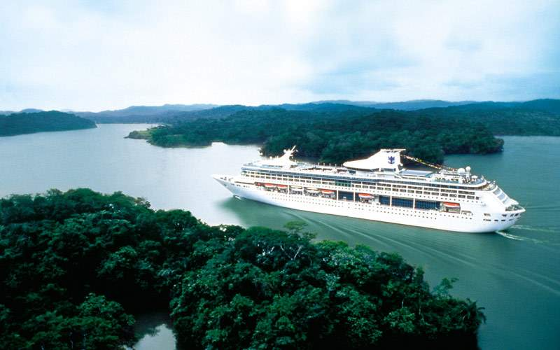 Royal Caribbean ship cruising the Panama Canal