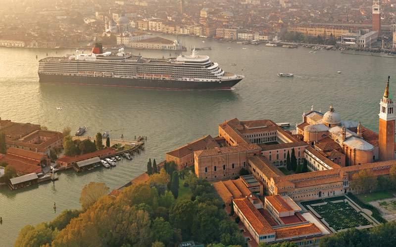 Queen Elizabeth sailing into Venice, Italy