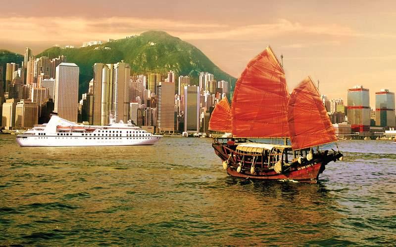 Seabourn Cruise ship in Hong Kong Harbor