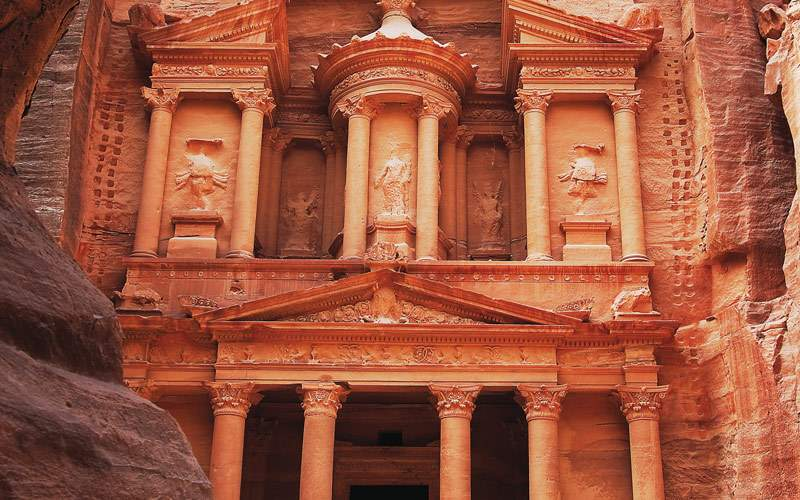 Seabourn Treasury at Petra ruins Jordan