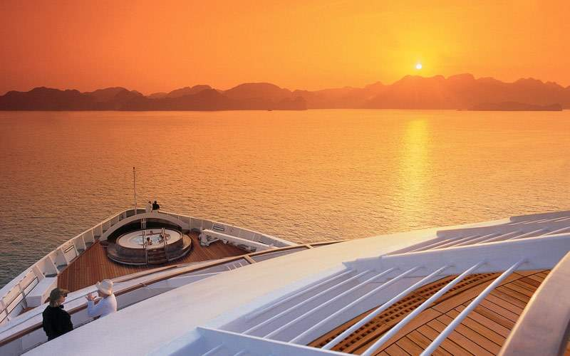 Seabourn Spirit sailing during a Caribbean sunset