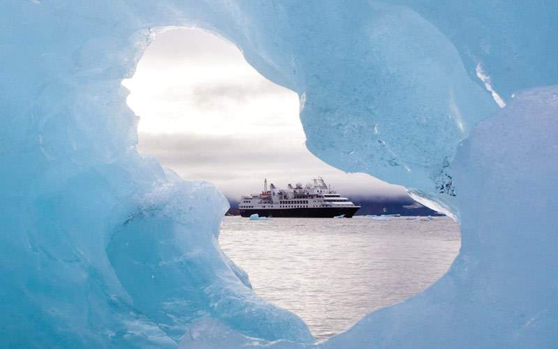 Silversea Explorer in Antarctica through icebergs