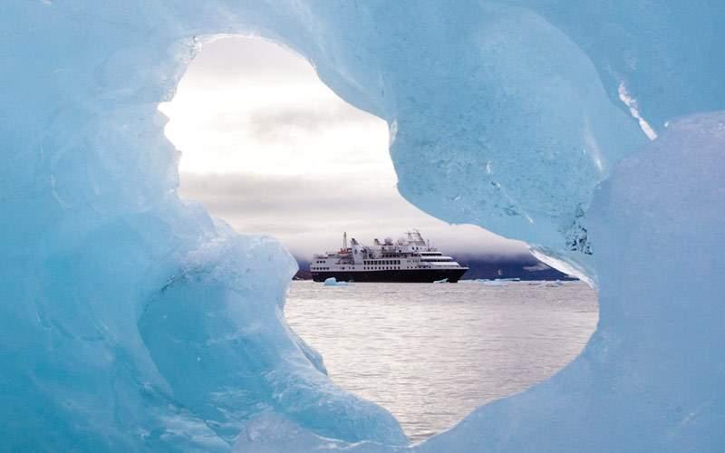 Silversea Explorer in Antarctica through icebergs