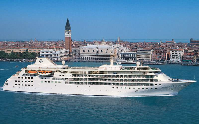 Silversea cruise ship in Venice, Italy
