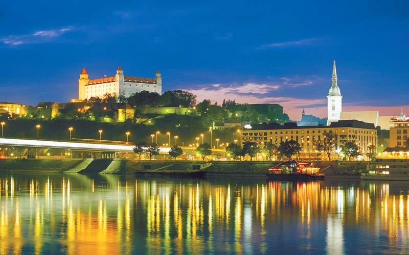 Bratislava Slovakia cityscape at night