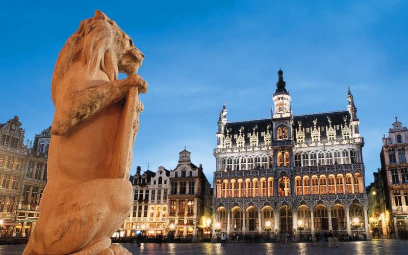 Lion statue in Brussels Belgium