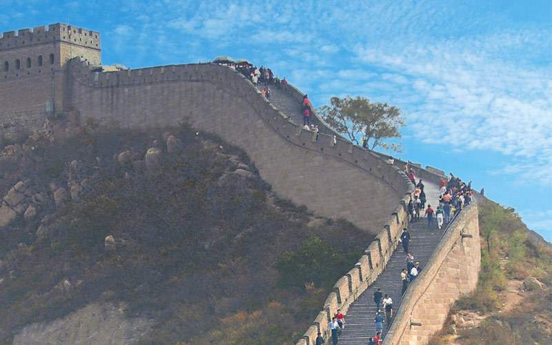 Tourists along the Great Wall of China