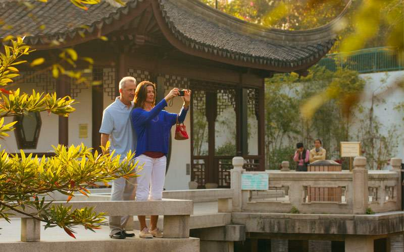 Tourists in a park in Hong Kong