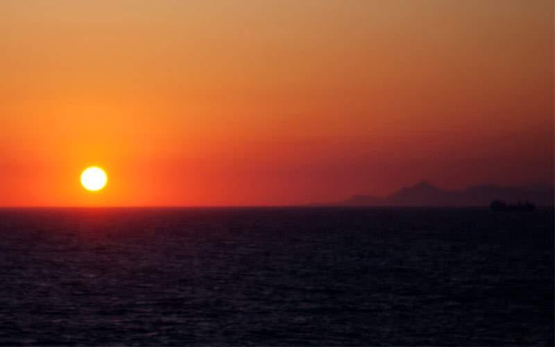 Azamara cruising at sunset