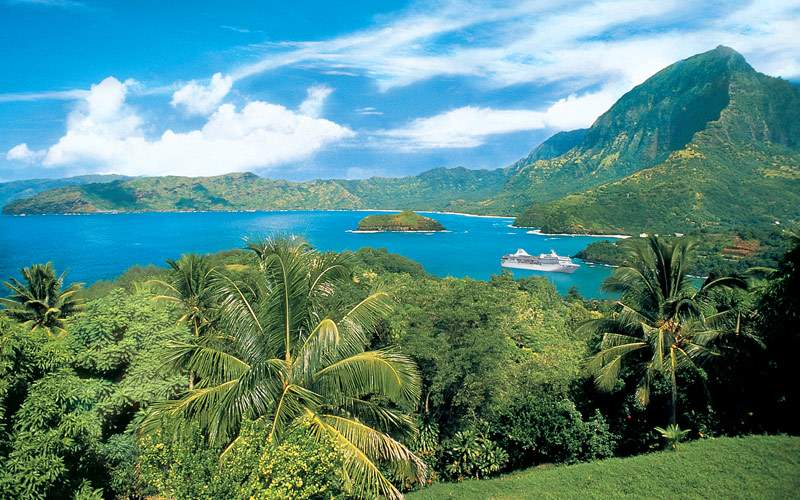 View of Hiva Oa on Marquesas Island