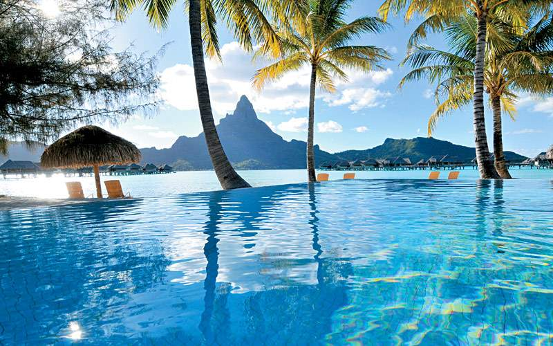 View of Bora Bora from an infinity pool