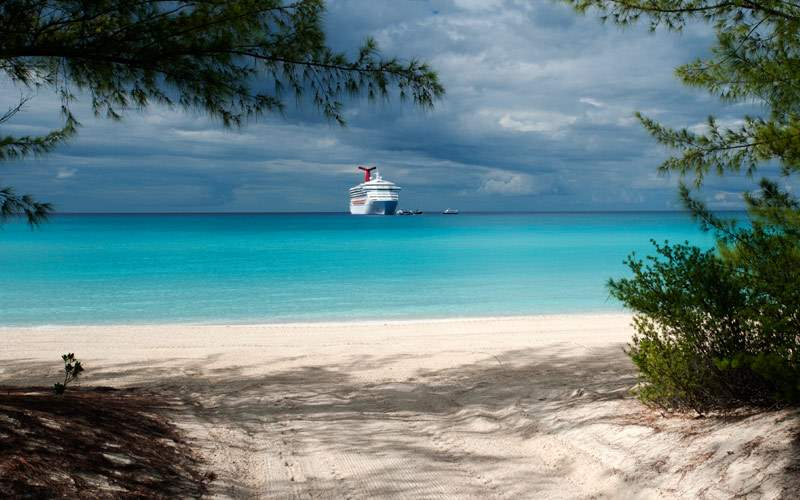 Carnival Destiny approaches Half Moon Cay