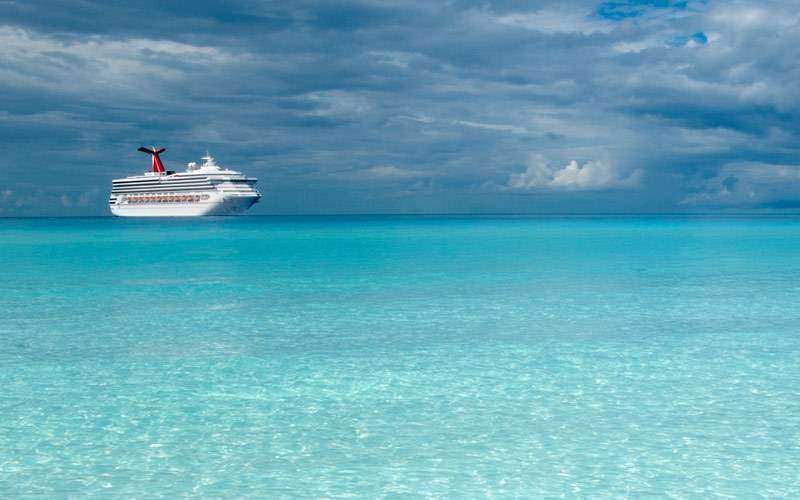 Carnival Destiny sits off the coast of the Bahamas
