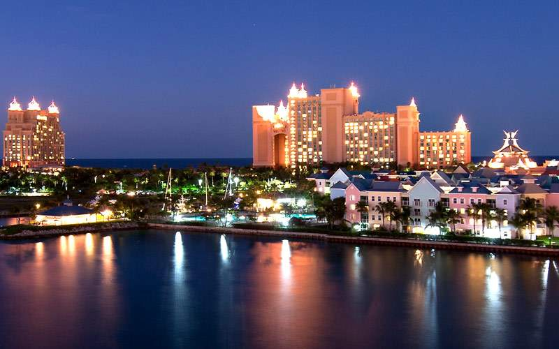 Night skyline of Nassau, Bahamas