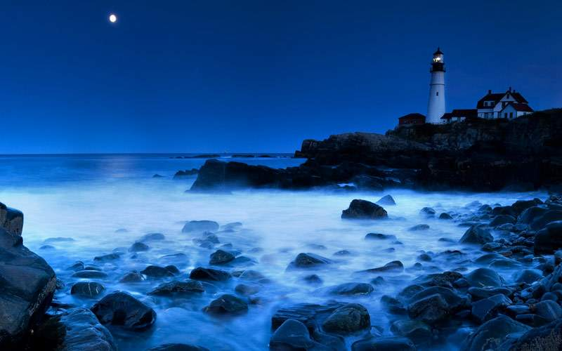 Lighthouse at night in Maine