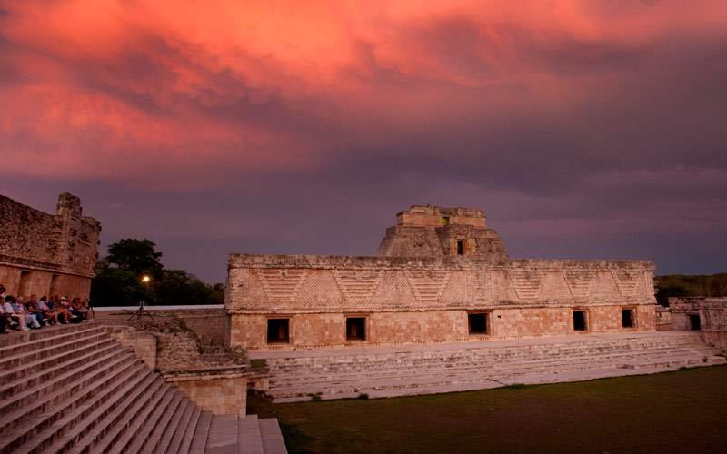 Mayan Ruins at dusk in Uxmal