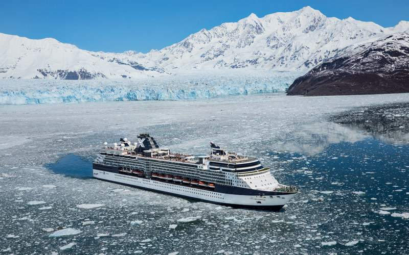 Celebrity Millennium cruises past glaciers