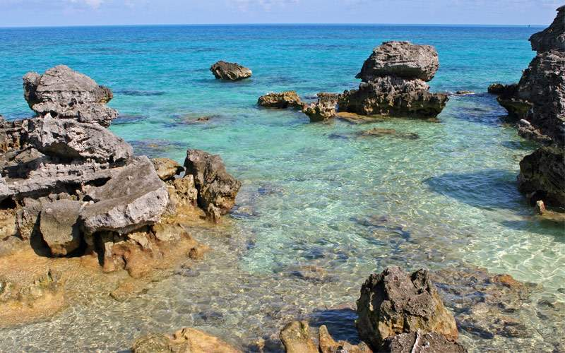 Rocks lay in the waters of Bermuda