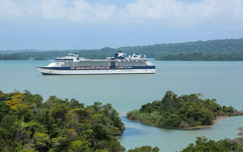 Celebrity ship sails through the Panama Canal