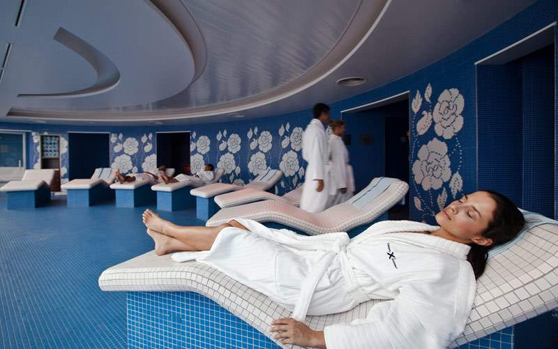 Guests relax in the Aqua Spa
