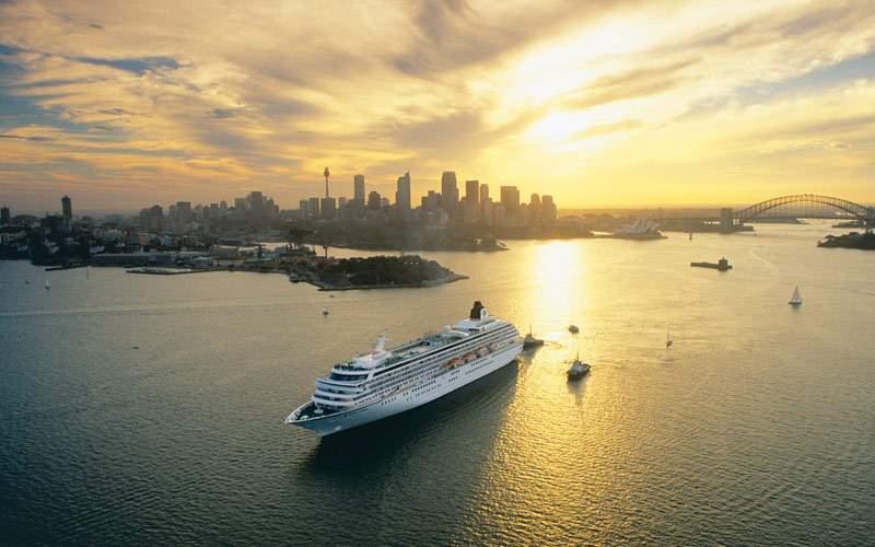 Cruising through Sydney at sunset