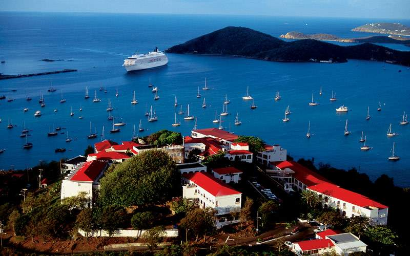 Crystal ship cruises through St. Thomas