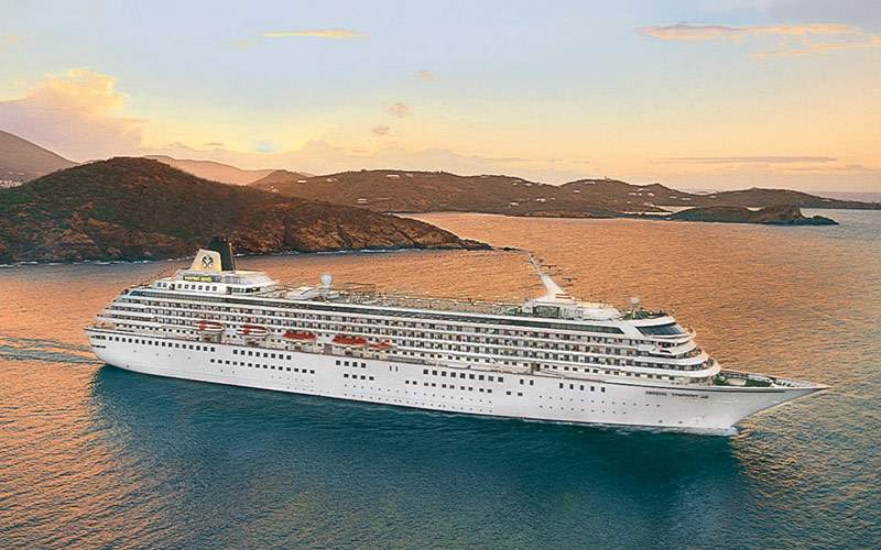 Symphony cruises the Caribbean islands at sunset