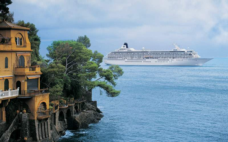 Crystal Cruises off coast of Portofino, Italy