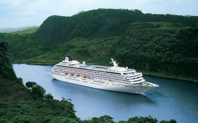 Crystal Symphony cruising the Panama Canal jungle