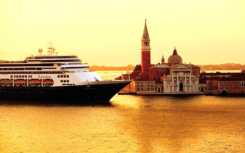 Holland America ship approaches Venice, Italy