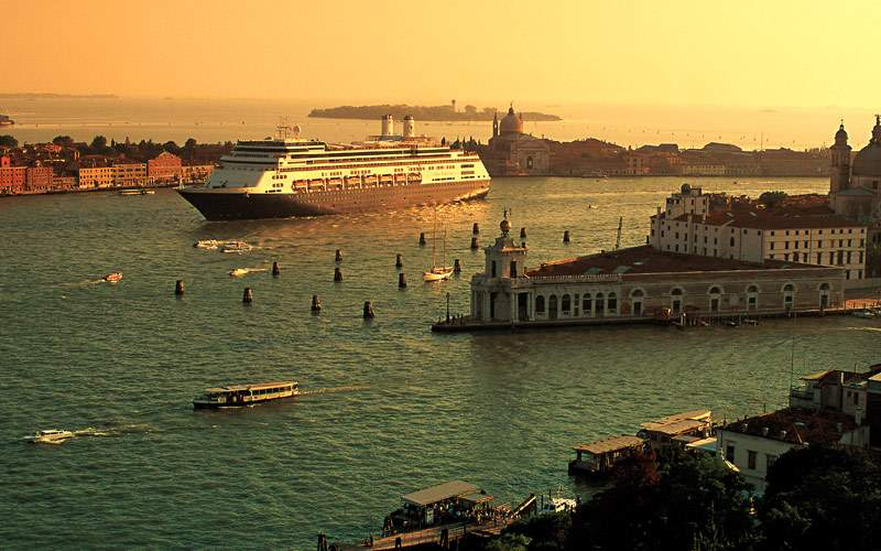 Holland America ship entering Venice, Italy