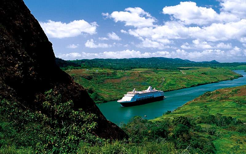 Ship sails through the Panama Canal
