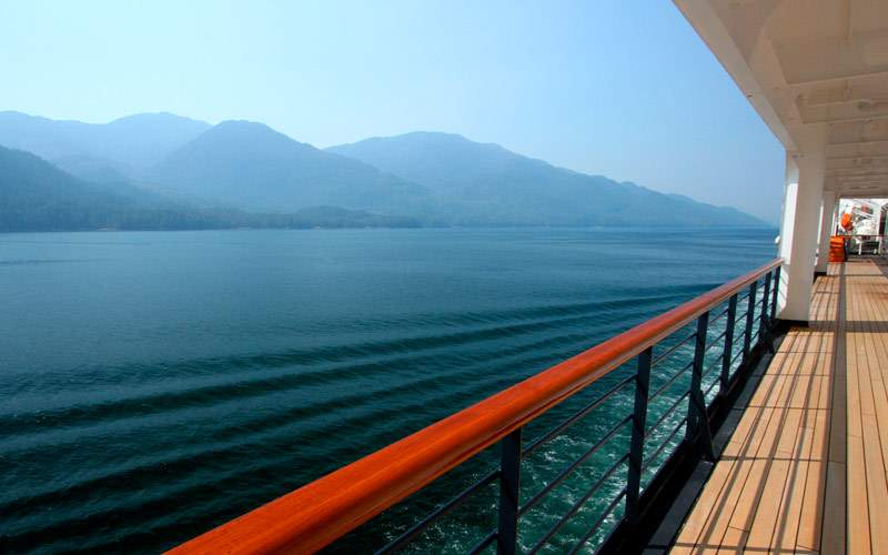 View of the mountains from the deck of the ship