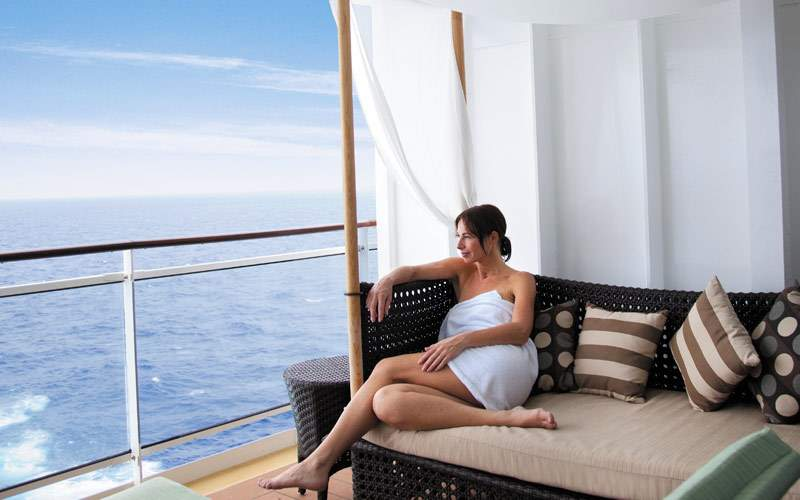 Guest relaxing in the Mandara Spa on the Epic
