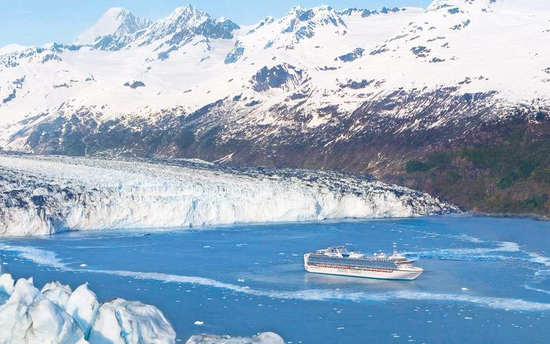 Princess cruises past some Alaskan glaciers