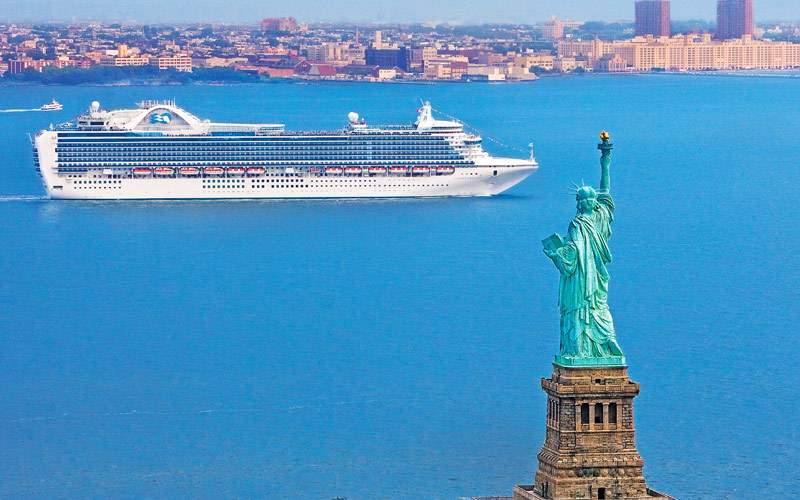 Princess ship departing from New York City