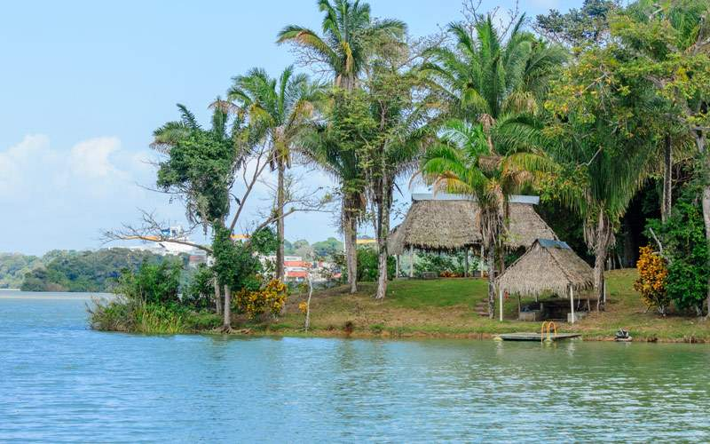 Indian fisherman shelter huts in the jungle along