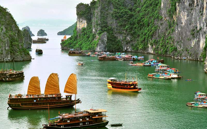 Junks and Floating Village in Halong Bay Vietnam