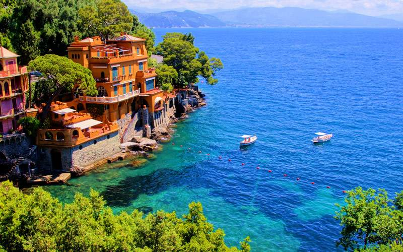 Luxury homes along the Italian coast of Portofino