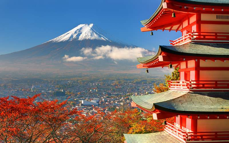 Mt Fuji viewed from behind Chureito Pagoda in Asia