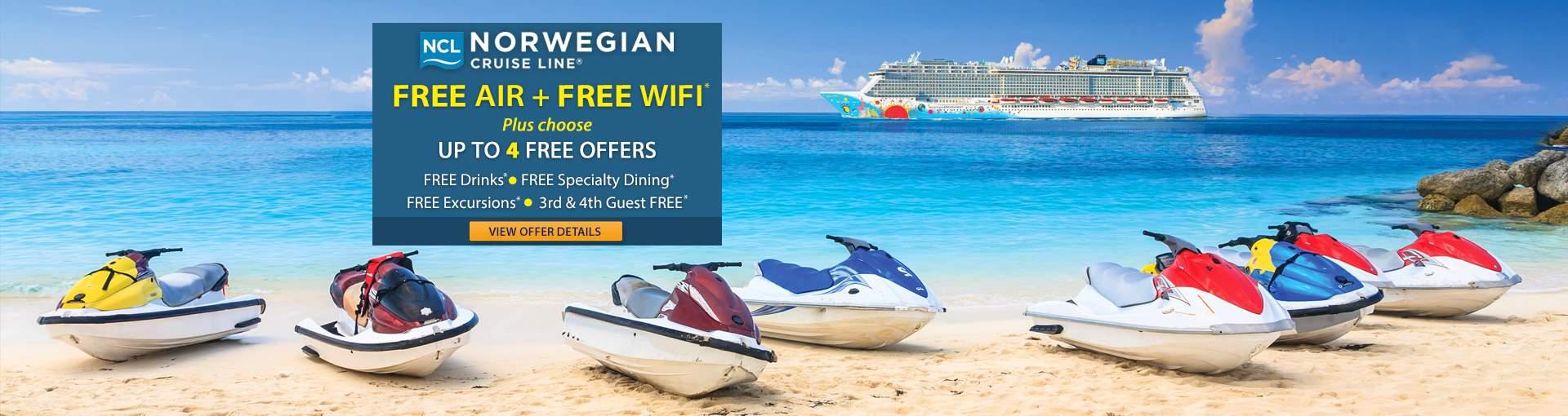 Norwegian Cruise Line: Free Air + Free WiFi & more