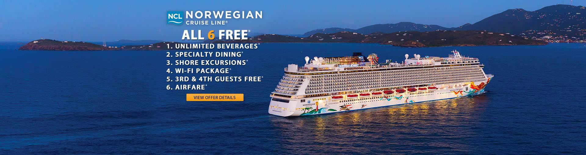 Norwegian Cruise Line: up to 6 Free Perks Promo