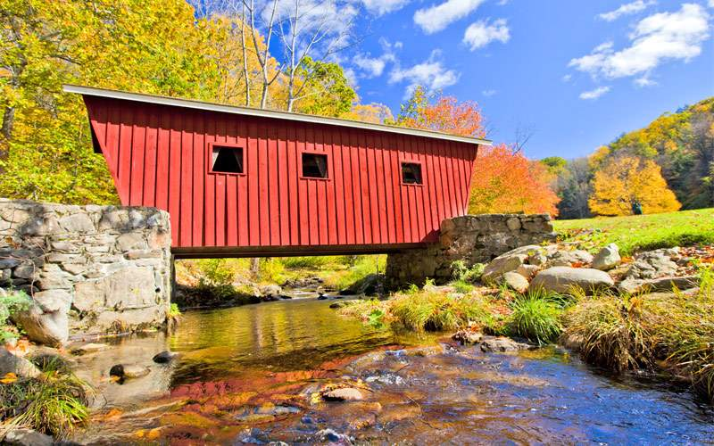 New England Covered bridge in the fall