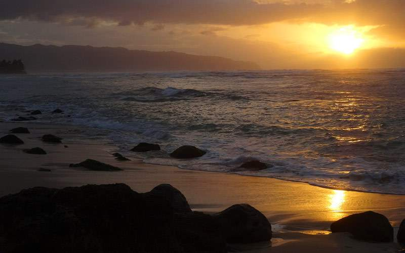 Sunset over Oahu Beach, Hawaii