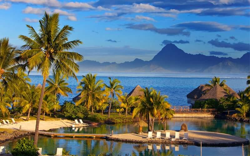 Ocean at sunset Polynesia Tahiti